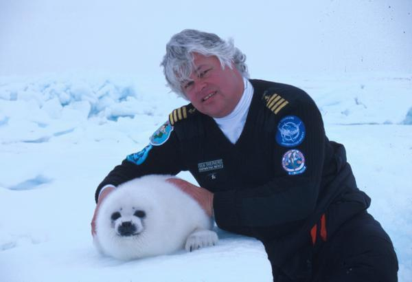 Captain Paul Watson with a baby harp seal friend. seashepherd.org