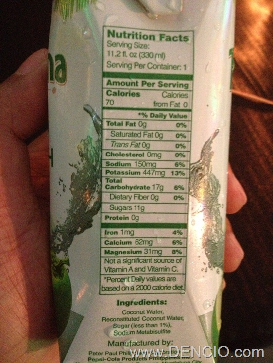 Coco Quench Nutritional Facts