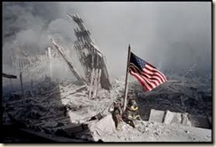 9-11 Flag in Rubble