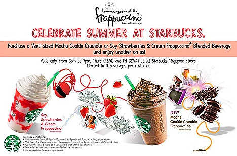 Starbucks offer NEW Mocha Cookie Crumble Frappuccino Soy Strawberries and Cream Frappuccino one for one summer treat singapore venti size