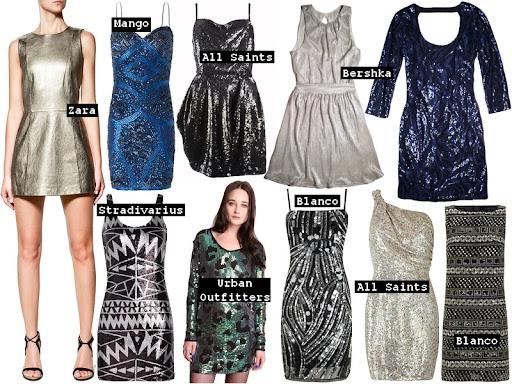 Sin embargo en metalizados no todo es dorado, la oferta en cuanto a lentejuelas y tejidos de efecto metálico es infinita azules, verdes, negros, plateados;