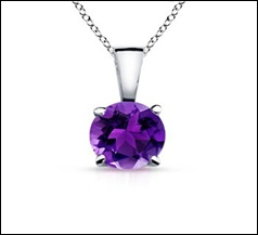 Round Solitaire Amethyst Pendant
