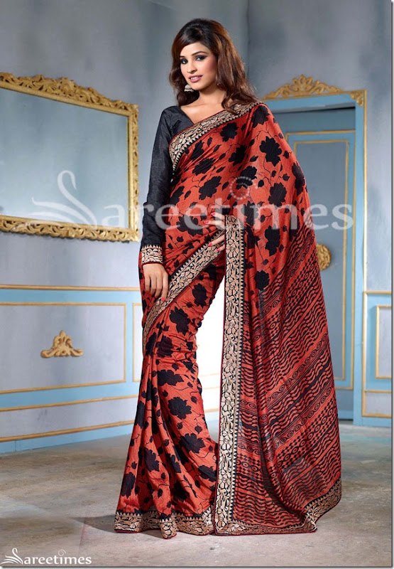 Brown_Printed_Saree