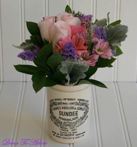 I used coral pink gerbera daisies pale pink roses purple status
