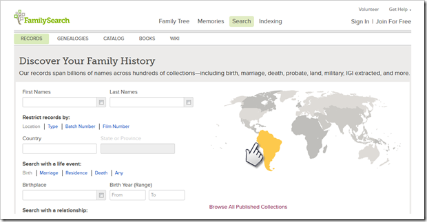 The FamilySearch continent map is now clickable.