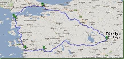 Mapa viagem TURQUIA