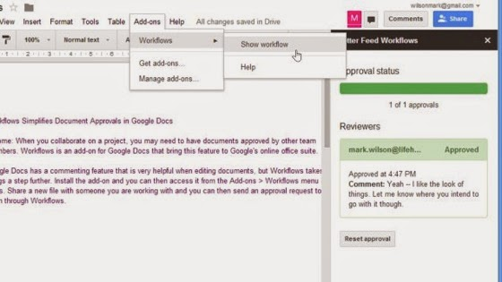 Workflows Makes Collaborating on Documents in Google Docs Easier via Lifehacker