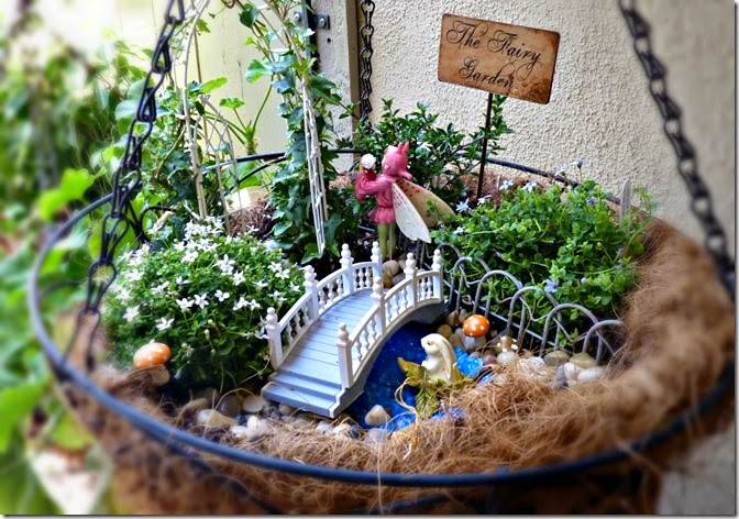 Hanging Fairy Garden with Water Feature