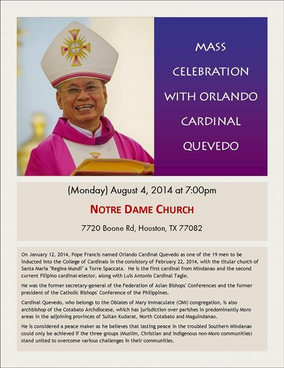 Flyer - Cardinal Quevedo - Aug 4 2014