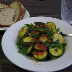 Zucchini and Tomato Salad with Garlic-Chili Dressing