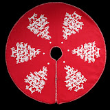 Red and White Fabric Tree Skirt
