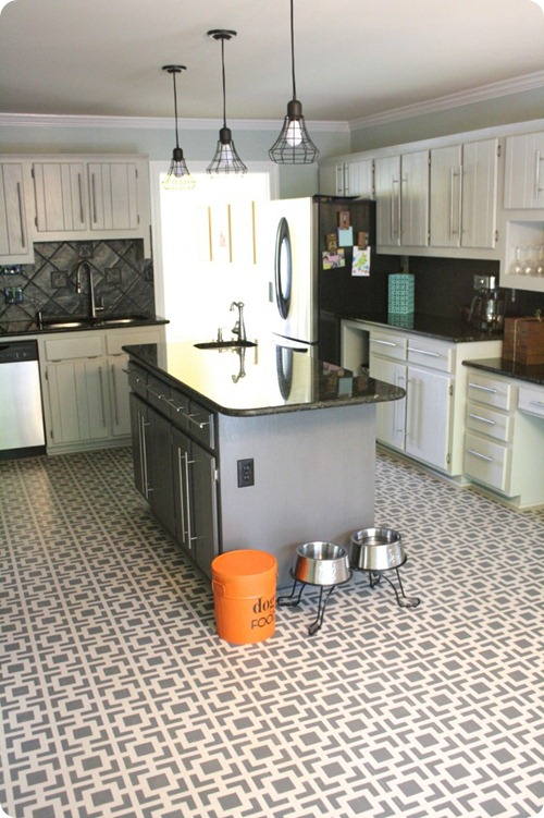 stenciled floor in kitchen
