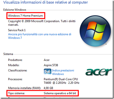 Proprietà di Windows 7 - Versione e tipo di sistema operativo