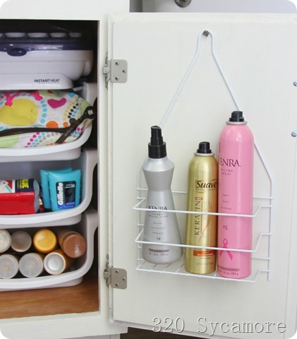 hairspray on dollar store shower caddy