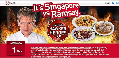 Gordon Ramsay SingTel Hawker Heroes Singapore Challenge Michelin-starred chef culinary cook-off Jumbo Seafood Restaurant Chilli Crabs, 328 Katong Laksa, Hai Sheng Carrot Cake, Tian Tian Chicken Rice, Roti Prata, Nasi Lemak,