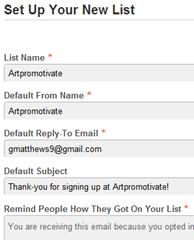 mailchimp setup list