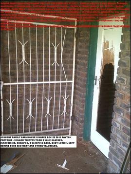 JOUBERT RIAAN FARM HOUSE ATTACK 3 BLACKS STOLE SOME WINE GLASSES DEC 22 2011