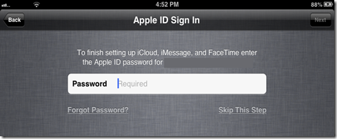 iOS 6 Sign In Apple ID