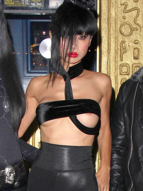Bai Ling wears Sexy Strap barely hiding her Boobs Nipples Visible Hot Boobs in Public