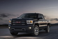 2014 GMC Sierra All Terrain Extended Cab Front Three Quarter in Iridium Metallic - on location