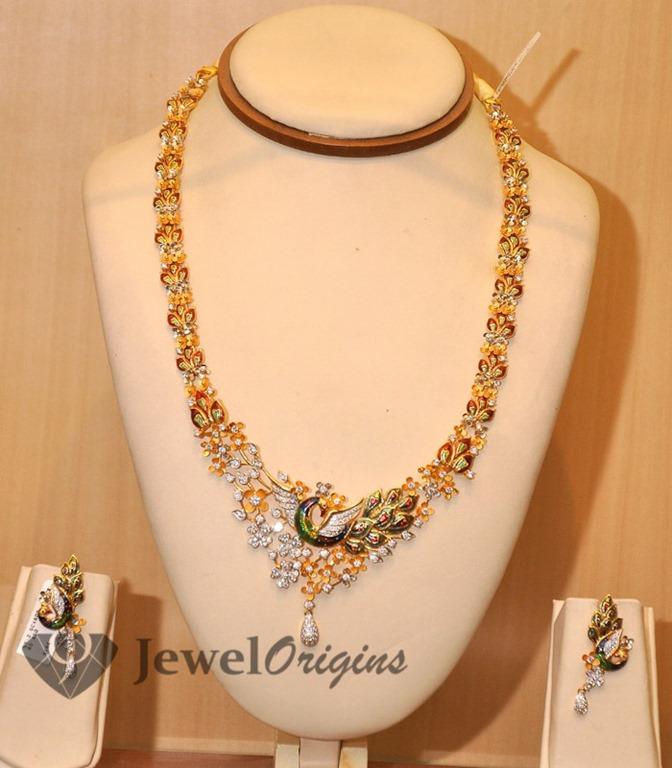 Flower Model Gold Haram   jewelorigins.com-Indian Designer Gold ...