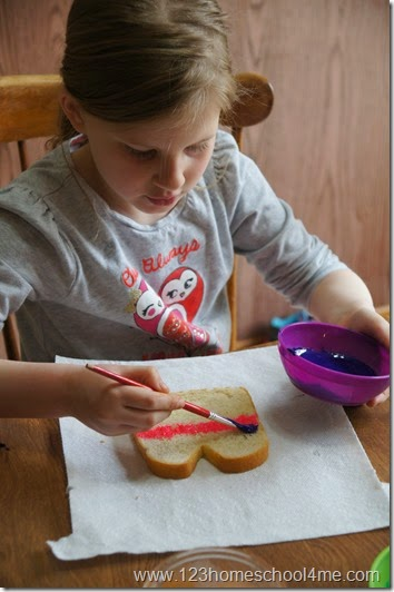 paint bread with colored sweetened condensed milk