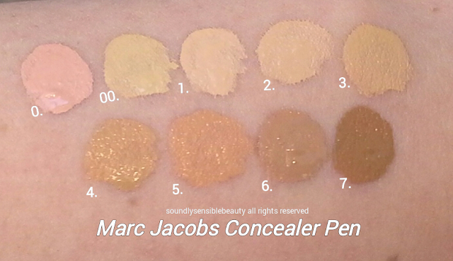 Marc Jacobs Remedy Concealer Pen Swatches of Shades 00 Stand Corrected, 0 Bright Idea, 1 Rendezvous, 2 Wake-up-Call, 3 Up-All-Night,  4 Late Show, 5 Last Call, 6 After Hours, 7 Past Curfew