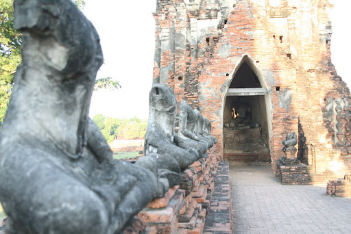 Lots of stoneless Buddhas, removed by the invading Burmese.
