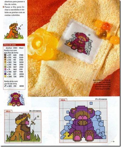 ursinhos bordado ponto cruz cross stitch