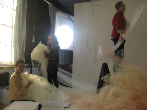We really had to crumple up the tulle. Then we tightly stored it in plastic containers overnight to ensure that the texture was just right in the photos.