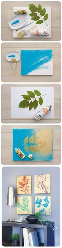 Quadro com desenho de folhas