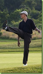 President Barack Obama puts a little body English on his shot during a round of golf at Farm Neck golf course during his vacation on Martha&#39;s Vineyard Aug. 24, 2009. (Official White House Photo by Pete Souza)&#10;&#10;This official White House photograph is being made available only for publication by news organizations and/or for personal use printing by the subject(s) of the photograph. The photograph may not be manipulated in any way and may not be used in commercial or political materials, advertisements, emails, products, promotions that in any way suggests approval or endorsement of the President, the First Family, or the White House. 