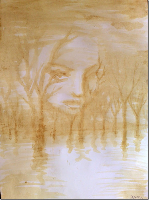 Si daca Chipul ei padurea de langa lac pictura facuta cu cafea