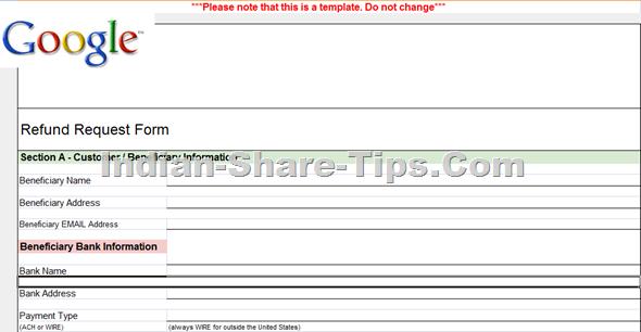 Google refund form