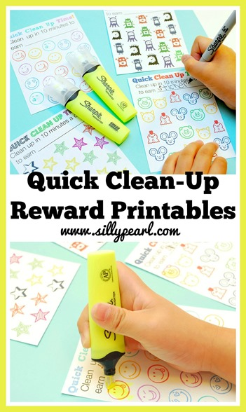Quick Clean Up Reward Printables for Kids- The Silly Pearl #SharpieClearview #Pmedia #Ad