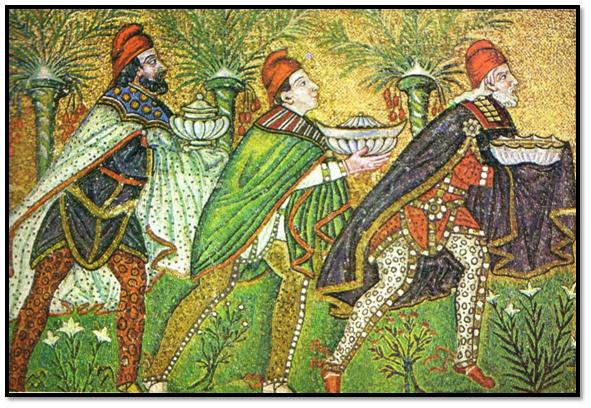 Mosaico bizantino,Basílica de San Apolinar el Nuevo, de Rávena, año 55