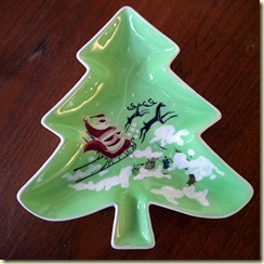midcentury Christmas candy dish
