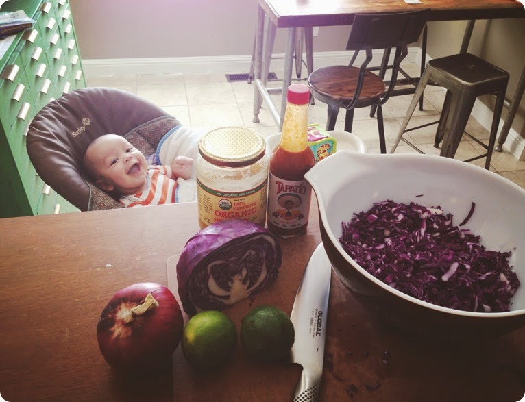 making spicy honey lime slaw with Lennox