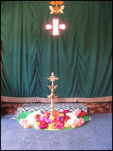 Saint Thomas Cross with Taditional Hindu Flower Arrangement
