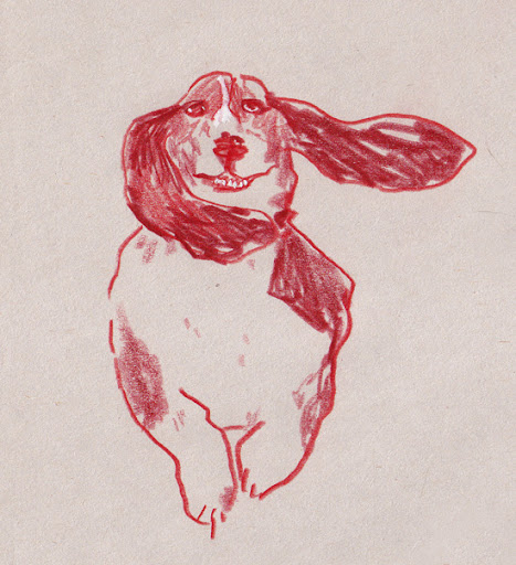 The sketch of Virgil, John's mother's dog, that I gave him when we met.