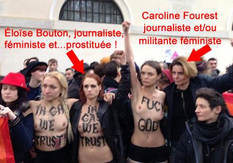 Les FEMEN brûlent le drapeau de la chahada, présentée ...