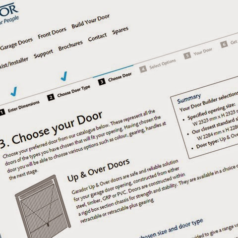 Website screen shot of Garador door builder