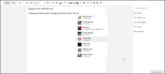 Blogger'da Google+ Çevrelerine Mention Gönderme Özelliği