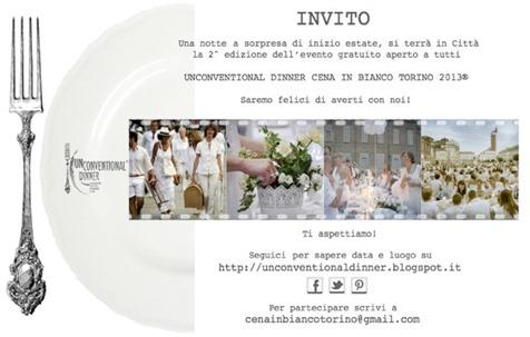 Invito Ospiti Unconventional Dinner in bianco Torino 2013