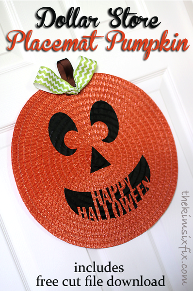 Dollar store placemat pumpkin