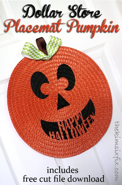 Dollar store placemat pumpkin
