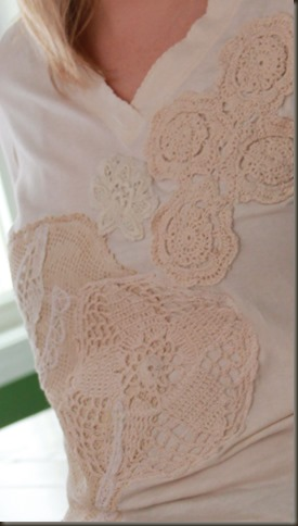 Refashioned lace shirt