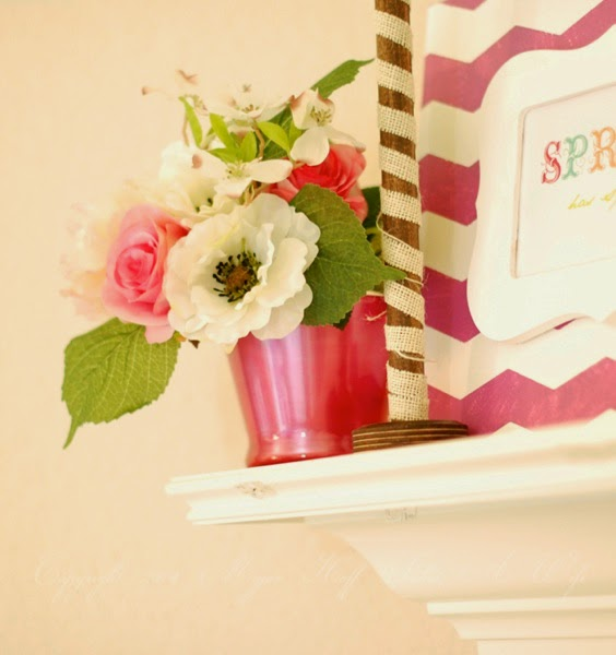 Spring mantle Roses and White burlap ribbon on spool