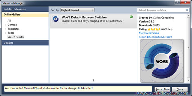 Restart Visual Studio in order for the changes to take effect