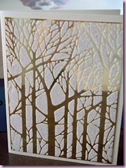 Bare Trees white on gold